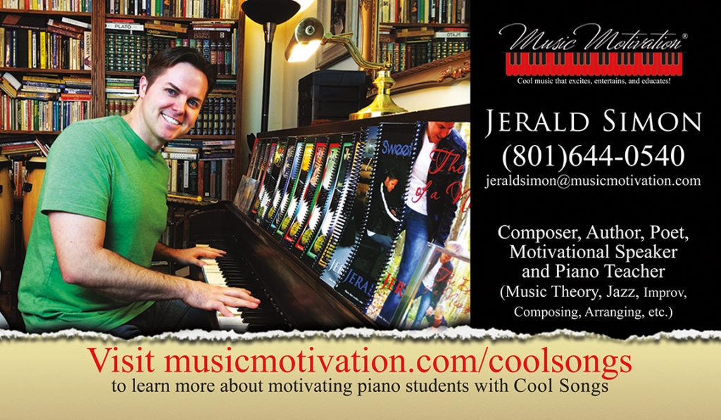 Front of Jerald's business card for the website - Jerald Simon - Music Motivation